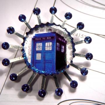 Swarovski Blue Box Brooch